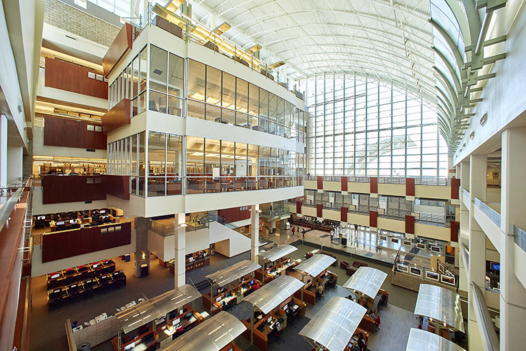 Aerial view of the inside of the Lied Library
