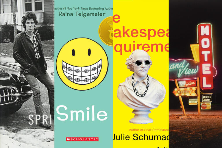 Collage of book covers Born to Run, Smile, The Shakespeare Requirement and Vanishing Vernacular