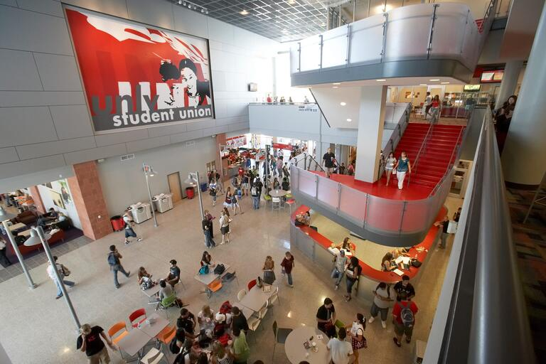 View of the Student Union first floor seen from the second floor