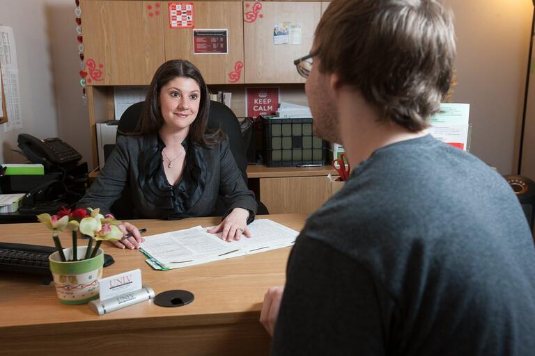 Student speaks to advisor