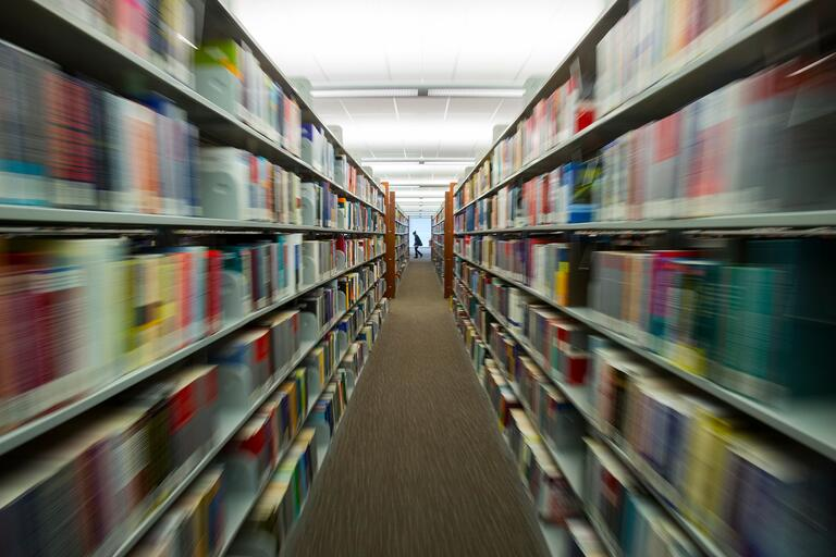 Library book stacks